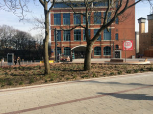 New walkways in-front of the William Morris Building