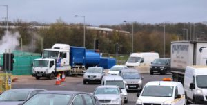 Traffic at roadworks