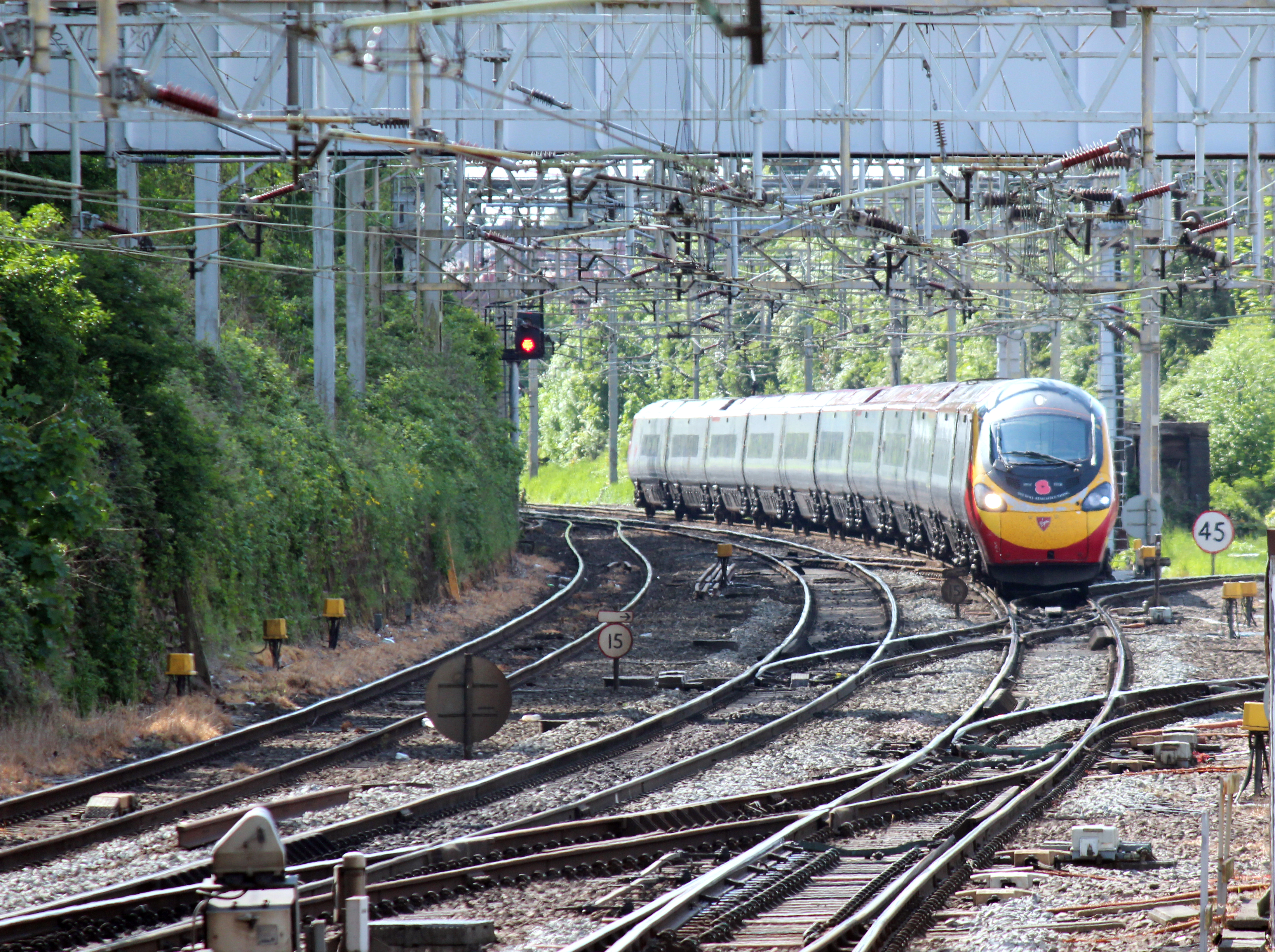 Virgin Pendalino approaching Coventry Station
