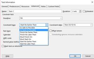 Task Information Dialog for Constraints