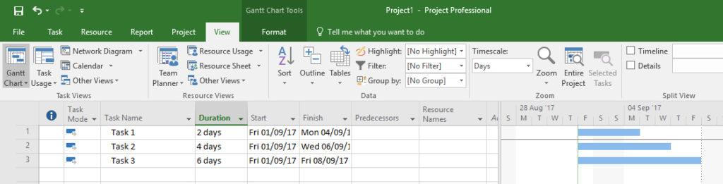 List of three tasks