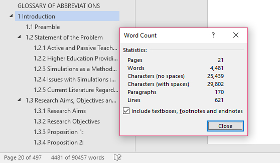 Word count master thesis