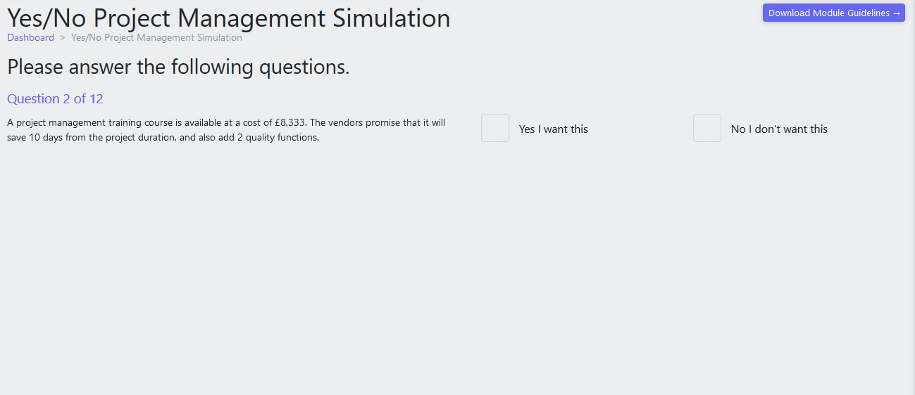 Yes-No Simulation Sample Question