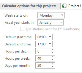 Default Calendar Settings