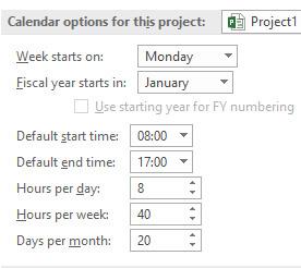 Default Calendar Settings