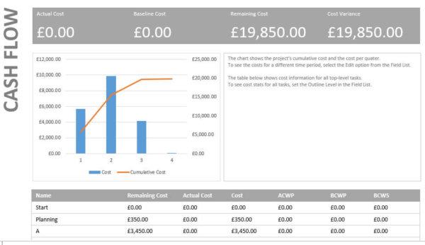 microsoft project cash flow report on line project management