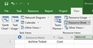 Microsoft Project Resource Cost Type