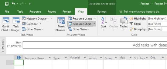 Resource Sheet View in Microsoft Project