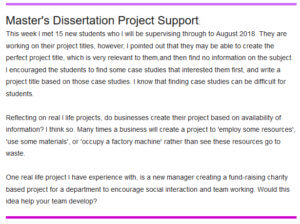 Masters Dissertation Support