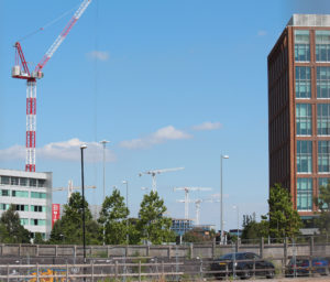 Friargate with Construction at St Patricks on the left, and Parkside and London Road in the distance