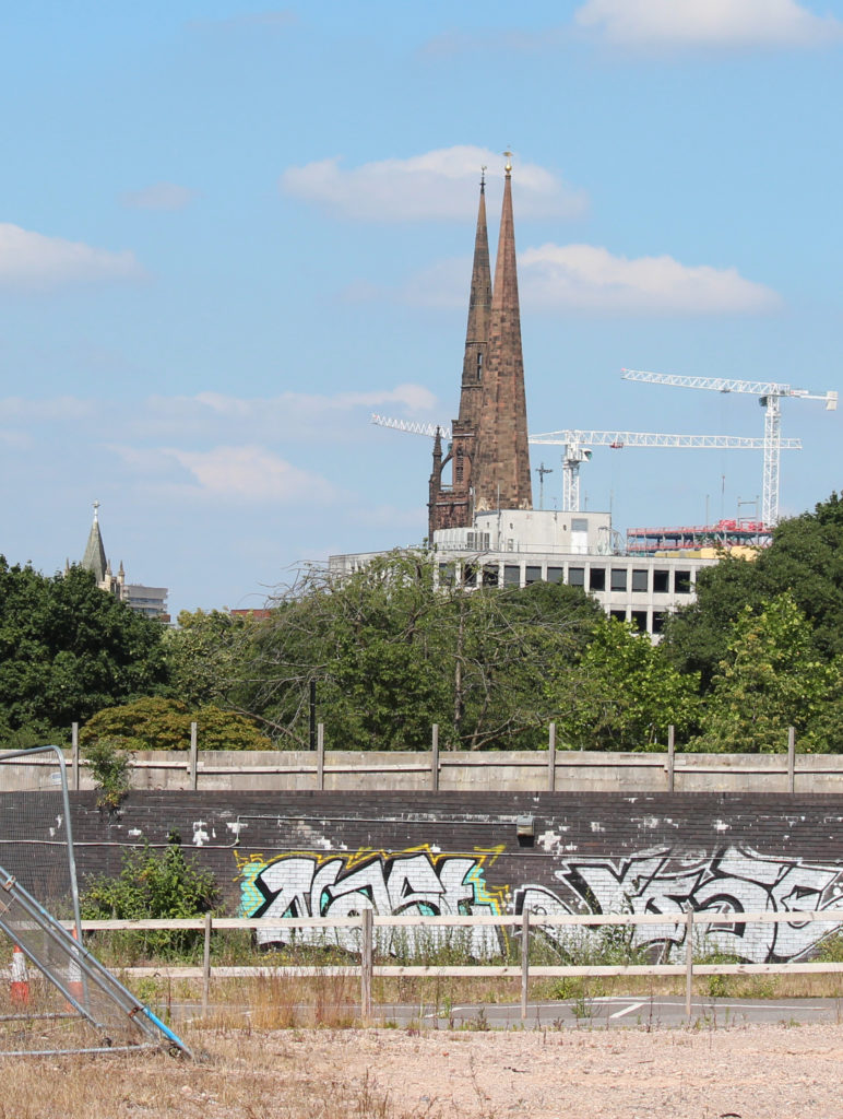 Tower Cranes and the Cathedral from Westminster Road